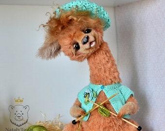 Alpaca toy, Llama OOAK teddy, Stuffed Lama Art toy, Farm Animal alpaca toy, Llama figure, Lama, Alpaca figurine, natural alpaca fur wool