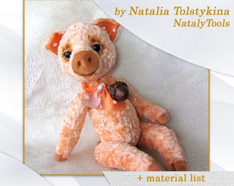 PDF Artists Teddy PATTERN, PIG piggy  by NatalyTools, Instant download teddy pattern, soft toy pig pattern, (10 inch/ 24cm)