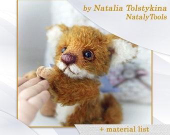 Teddy bear fox pattern, Mohair fox pup pattern, Artist sewing Stuffed Fox pattern by NatalyTools, Instant download teddy pattern, soft toy