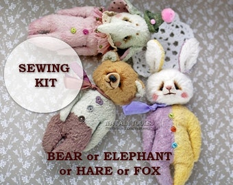 Sewing kit, pocket size primitive elly pattern, stuffed Elephant /Bear /Hare /Fox, viscose hand-dyed, materials soft toy set, fabric lot toy