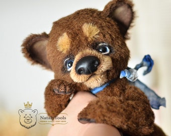 Brown teddy bear, stuffed toy, Artist OOAK teddy bear, Himalayan Bear, russian bear figure, Animal art, plush bear, mohair alpaca bear