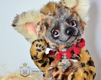 Hyena baby toy, Artist teddy creation OOAK by NatalyTools, Crocuta, Spotted Hyena stuffed toy, Animal portrait, Brown eyes, Hyena figurine