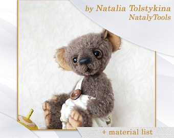 PDF Artists Teddy Bear PATTERN, teddy bear Michael with pants by NatalyTools, instant download teddy pattern, soft toy pattern, (10in/25cm)