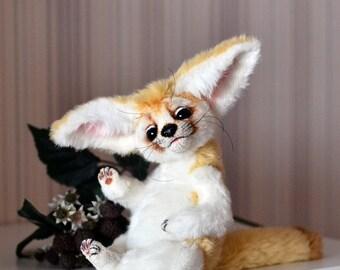 Fennec fox, Artist teddy fennec toy by NatalyTools bears, OOAK, plush fur, Animal stuffed creation, Big ears, white beige, Smiling face