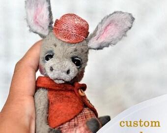 "SAMPLE Donkey Bobby Artist Teddy donkey OOAK stuffed creation by NatalyTools animal pet soft toy portrait 5"" animalistic gift baby donkey"