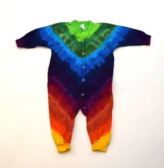 Dharma Trading Co. 6 months Snap Legs, Crew Cuffs One of a Kind Rainbow Bandolier ~ Tie Dye Baby Longsleeve Sweatshirt Romper
