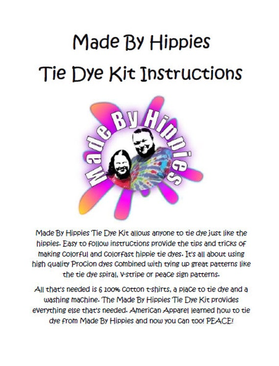 Made By Hippies Tie Dye Kit Instructions 24 Pages 594kb Pdf Etsy