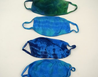 Mask Pack #42 ~ Set of 4 Ice Dye Tie Dye ADULT Size Masks (2 layer Cotton Jersey Mask Fabric Earloops Stretchy Non-Adjustable) Variety Blue