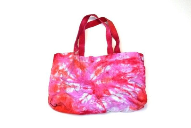Cosmic Batch #41 11x17 bag with handles Salmon and Pink Spiral Tie Dye Canvas Bag Purse