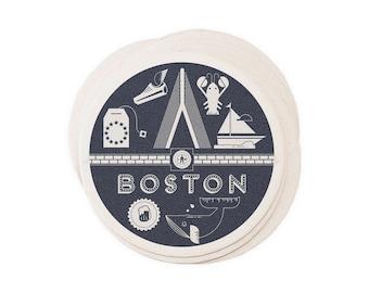 Boston - Letterpressed Paper Coasters