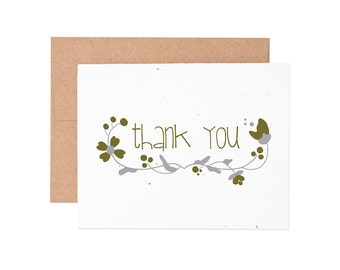 Floral Thank You Seeded Letterpress Greeting Card  - Greeting Card | Letterpress Card | Seeded Card