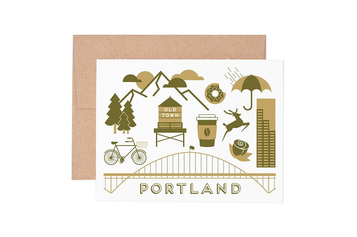 Portland Letterpress Greeting Card Blank Card Greeting Etsy