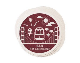 San Francisco - Letterpressed Paper Coasters