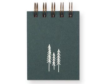 Evergreen Trees Mini Jotter - Notebook | Journal | Pocket Notebook | Spiral Bound | Blank Pages
