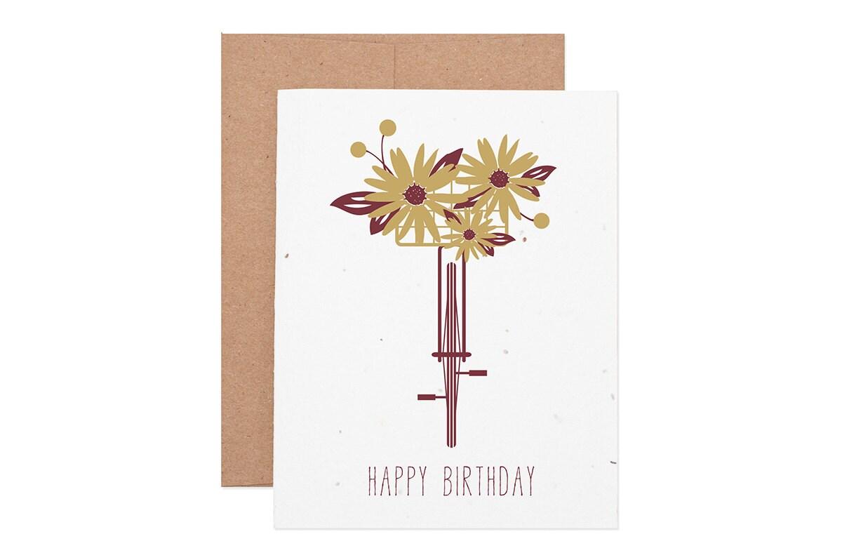 Bicycle floral happy birthday seeded letterpress greeting card etsy zoom izmirmasajfo