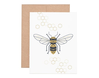 Honeybee Letterpress Greeting Card - Letterpress Card | Blank Card | Greeting Cards