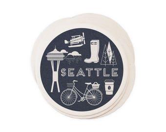 Seattle - Letterpressed Paper Coasters