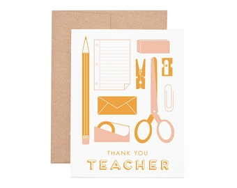 Teacher Appreciation Letterpress Greeting Card - Thank You Card | Teacher Card | Letterpress Card | Greeting Cards