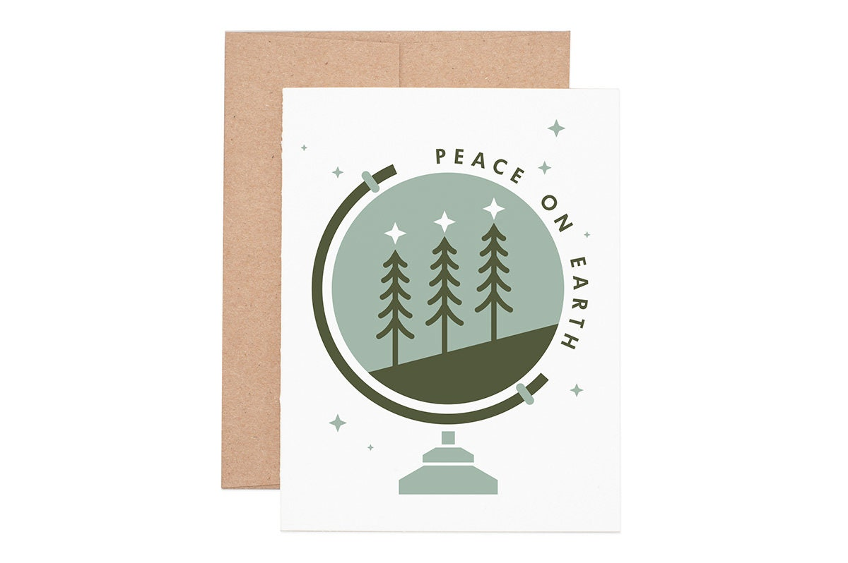 Peace on Earth Holiday Letterpress Greeting Card Holiday | Etsy