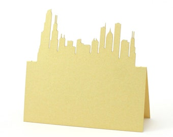 Custom Printed Place Cards set of 30 events NYC Skyline Escort Cards Tent style cards for weddings showers