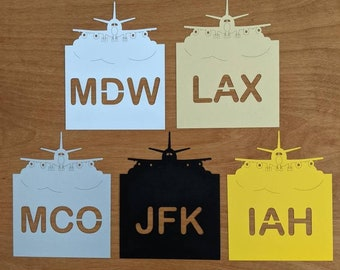 Airport Codes Table Cards - Place Cards, Pilot, Wedding, Table Numbers, Reception, Escort Card, Table Number Cards, Jet, blue sky, travel
