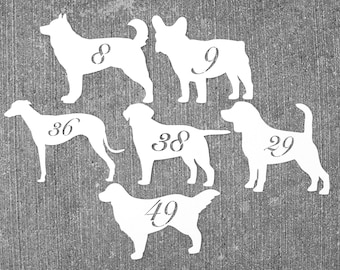 Dog Table Number Cards No. 1 - 25,  dog Place Cards, Wedding Table Numbers, wedding Escort Card, Rustic Table Number Cards, dog seating card
