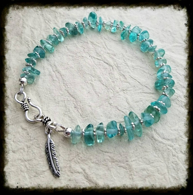 Apatite green teal and Sterling Silver nugget bracelet image 0