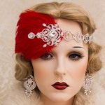 1920s Roaring Flapper Headbands Great Gatsby Headpiece Vintage Red Feather Hair Accessories