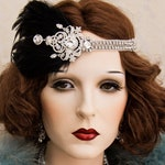 1920s Roaring Flapper Headbands, Great Gatsby Headpiece, Rhinestone Crystal Headband , Vintage Black Feather Hair Accessories
