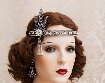 Flapper Headband Great Gatsby Headband Daisy Buchanan Costume  Roaring 1920's Black Rhinestone Earrings