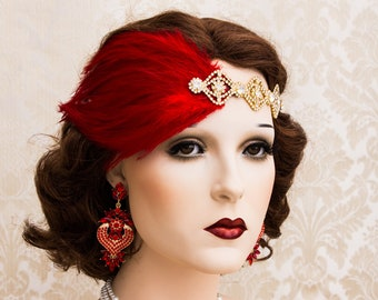 Red and Gold Great Gatsby Headpiece, Rose Gold Art Deco Headband, Flapper jewelry 1920's Accessories, New Year's Party Earrings