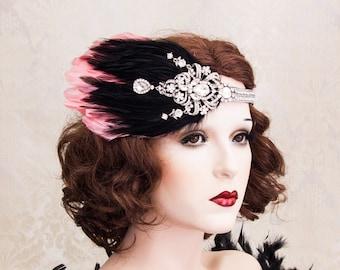 Art Deco Headband, 1920s Great Gatsby Headpiece with black and Coral Feathers, Great Gatsby Headband, Art Deco Flapper Hair Piece