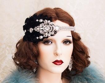 Art Deco Headband, 1920s Great Gatsby Headpiece with Black Feathers, Great Gatsby Headband, Art Deco Flapper Hair Piece