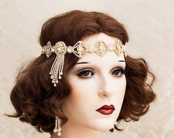 Great Gatsby Headband, Gold Rhinestone headband, Flapper Headpiece, Art Deco Headpiece, Roaring 1920s Jewelry