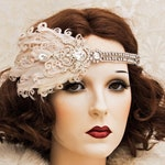 Art Deco Headband, 1920s Great Gatsby Headpiece with Blush Feathers, Great Gatsby Headband, Art Deco Flapper Hair Piece