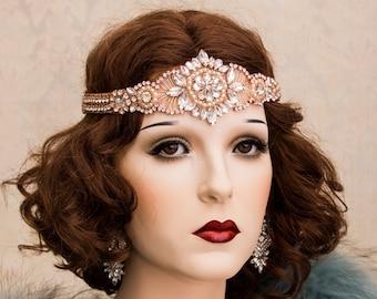 Rose Gold Art Deco Headband, Gatsby Headband, Art Deco Hair Accessory, Flapper Headpiece, Rose Gold Rhinestone Headband Earrings Bracelet