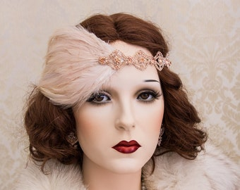 Blush Great Gatsby Headpiece, Rose Gold Art Deco Headband, Roaring 1920's Accessories Jewelry, New Year's Party Earrings