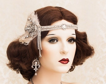 Great Gatsby Headpiece with Crystal Brooch and Blush Feathers, Great Gatsby Headband, 1920s Art Deco Wedding Accessories
