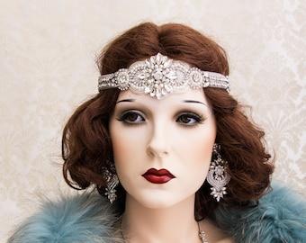 Silver Great Gatsby Headband, Art Deco Headband, Art Deco Wedding Hair Accessory, Flapper Headpiece, Gatsby Wedding Earrings Bracelet