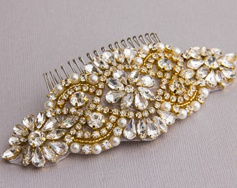 Gold Wedding Hair comb Bridal hair Comb Bridal Hair Jewelry Crystal Hair comb Rhinestone Haircomb Bridal Head Piece Wedding Hairpiece