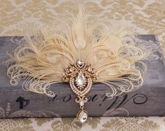 Ivory Cream Silver 1920s Feather Headband Headpiece Flapper Great Gatsby 1376