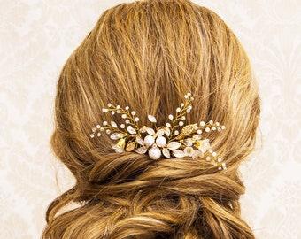 Floral Bridal Hair Comb, Crystal and Pearl Wedding Headpiece