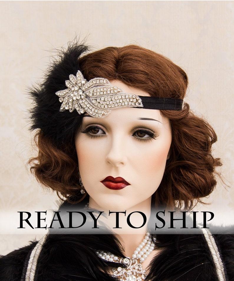 Rhinestone 1920s Roaring Flapper Headbands Great Gatsby image 0