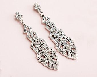 Antique Silver Great Gatsby Earrings, Art Deco Earrings, 1920s Jewelry, Roaring 20s Earrings, Gatsby Accessories
