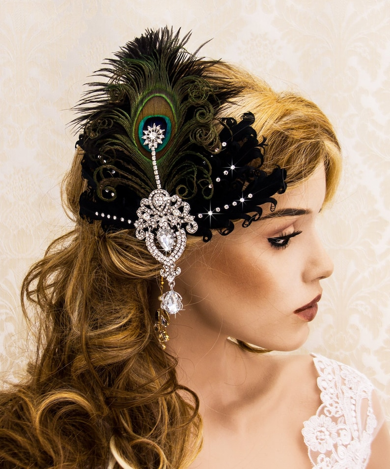 Black and Silver Wedding Feather Facsinator Great Gatsby image 0
