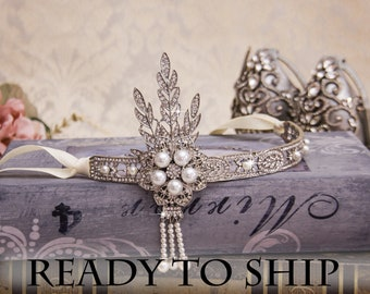 Great Gatsby Headband Flapper Headband Rhinestone Headband 1920s Wedding Jewelry Crystal Earrings