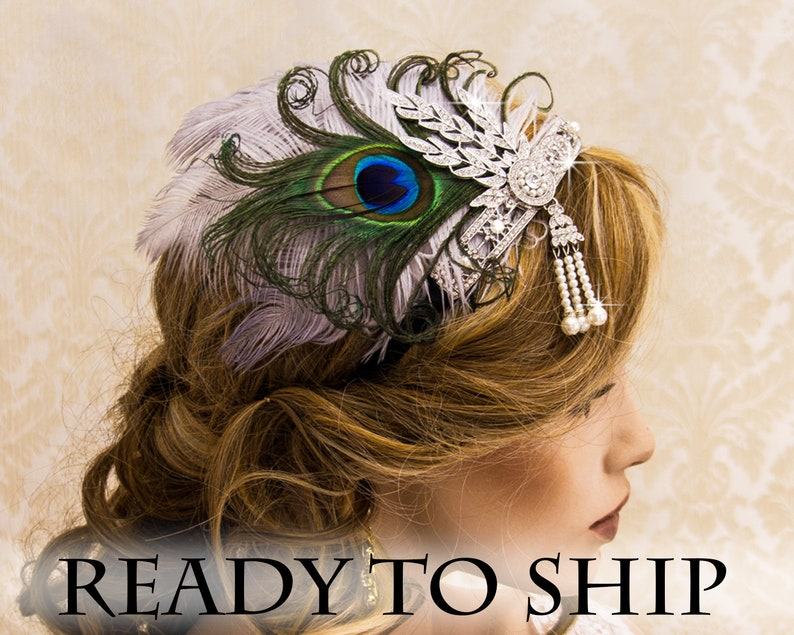 Silver Flapper Headband Great Gatsby Headband with Peacock image 0