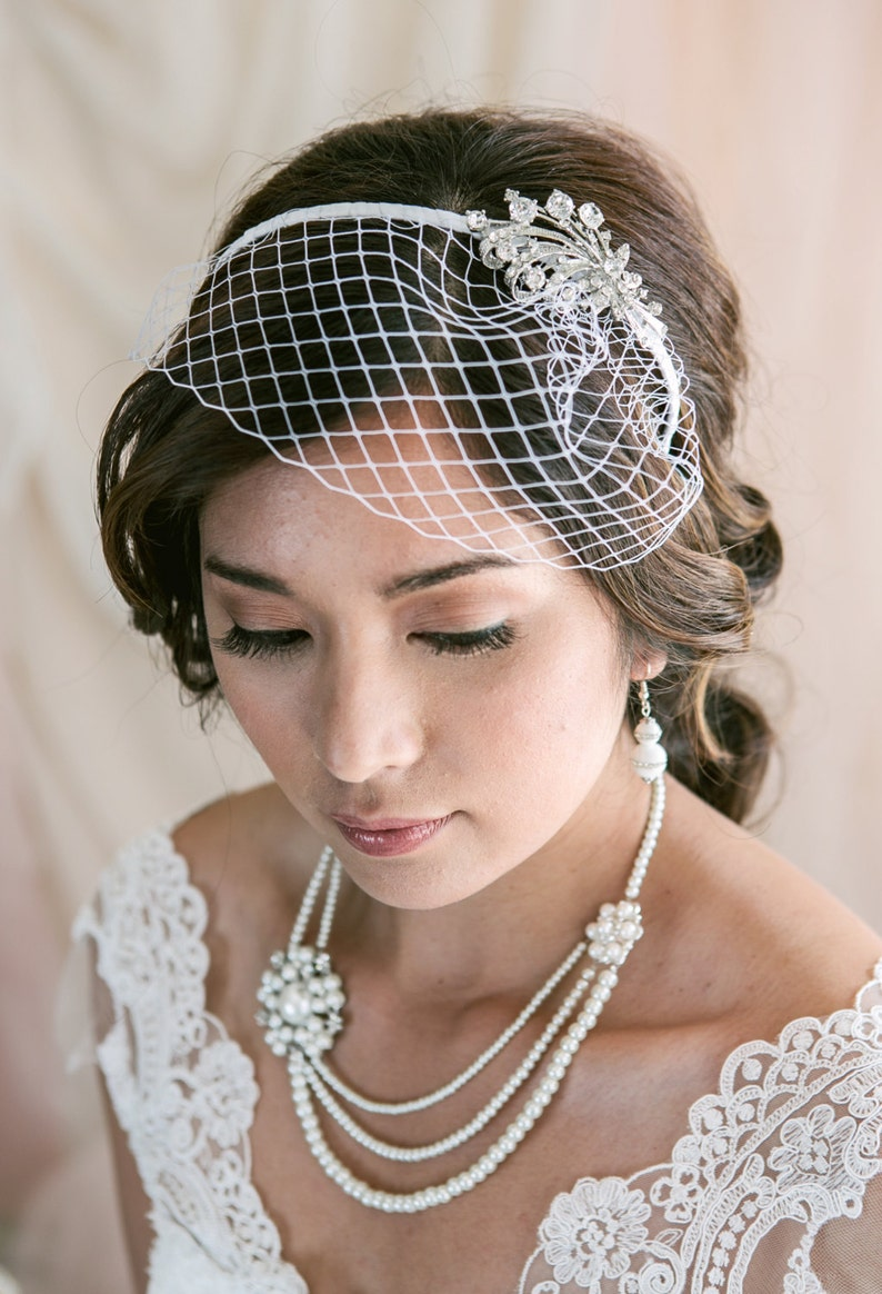 Birdcage Veil Headband Short Veil Short Wedding Veil image 0