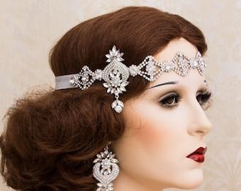 Silver Rhinestone Headband Great Gatsby Headband Flapper headpiece Art Deco Headpiece Roaring 1920s Wedding Jewelry