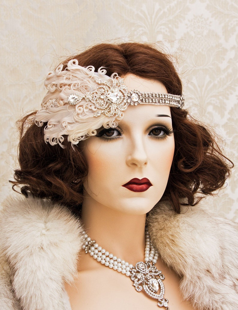 Art Deco Headband 1920s Great Gatsby Headpiece with Blush image 0